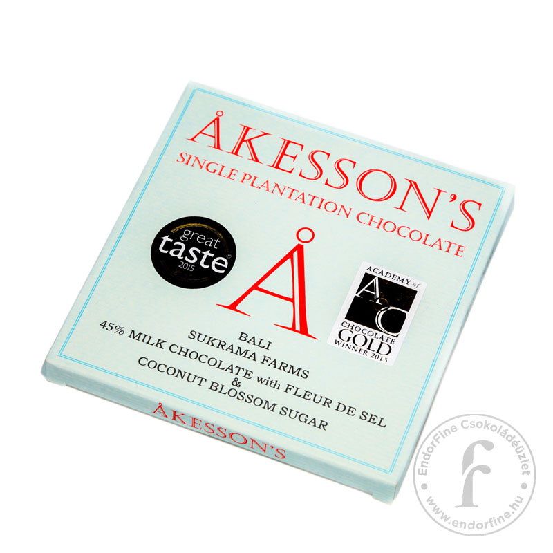 Akesson's Tengeri sós-kókuszvirág-cukros 45%-os tejcsokoládé 60g