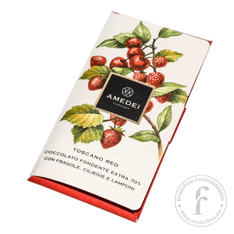 """Amedei """"Toscano Red"""" epres-cseresznyés-málnás 70%-os étcsokoládé 50g"""