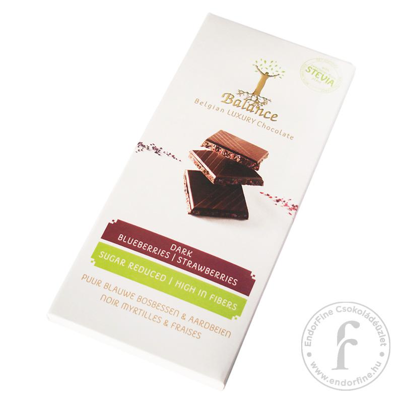 Balance Áfonyás-epres 52%-os étcsokoládé 85g - cukormentes