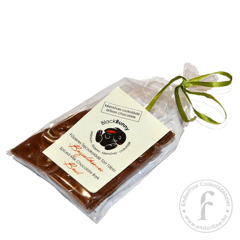BlackBunny Bazsalikomos 35%-os tejcsokoládé tört tábla 50g