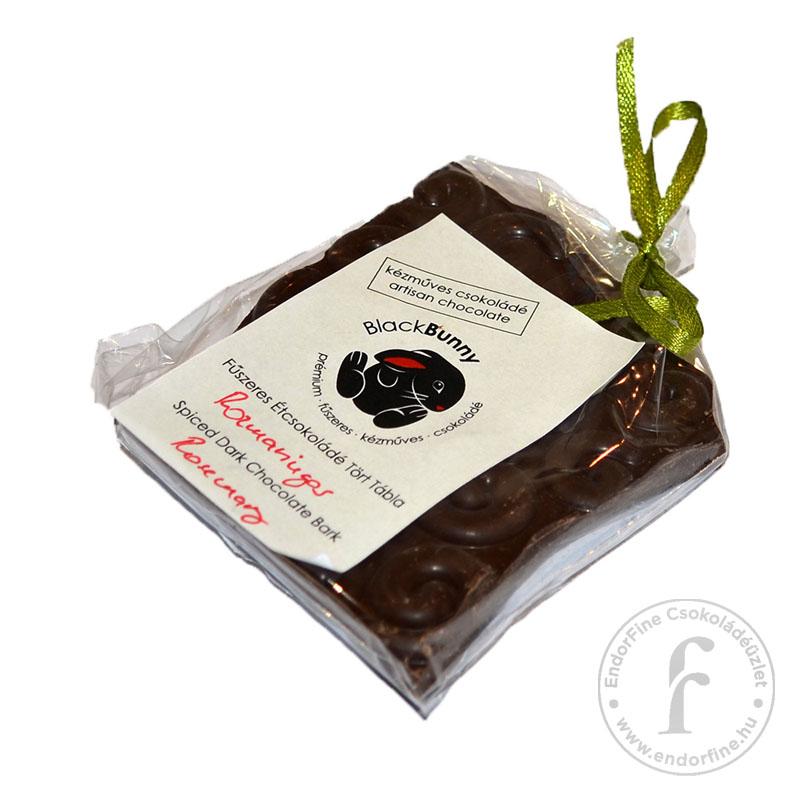 BlackBunny Rozmaringos 55%-os étcsokoládé tört tábla 50g