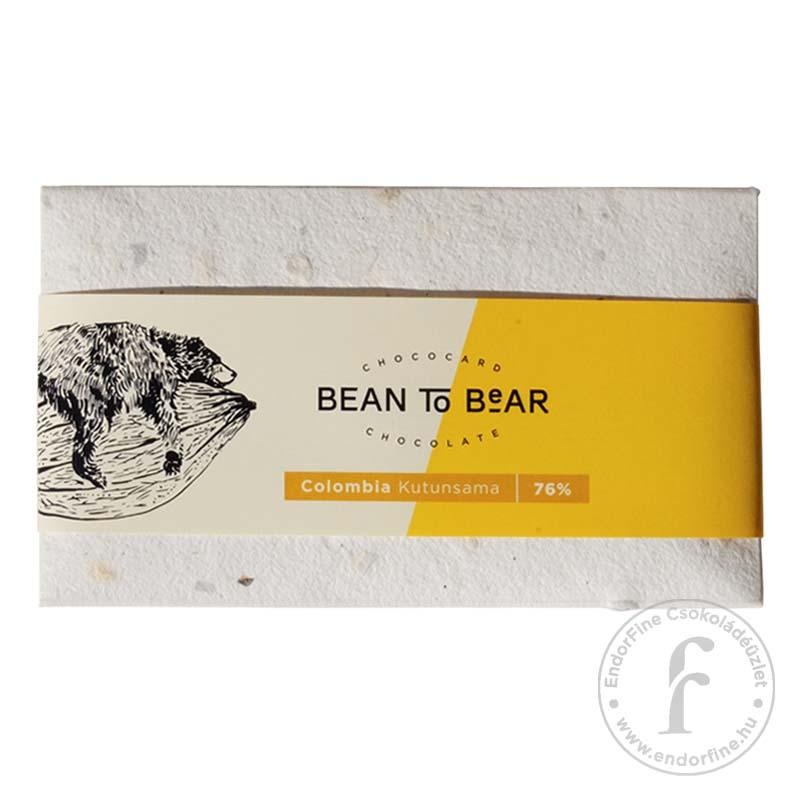 """ChocoCard """"Bean to Bear"""" 76%-os étcsokoládé (Colombia) 80g"""