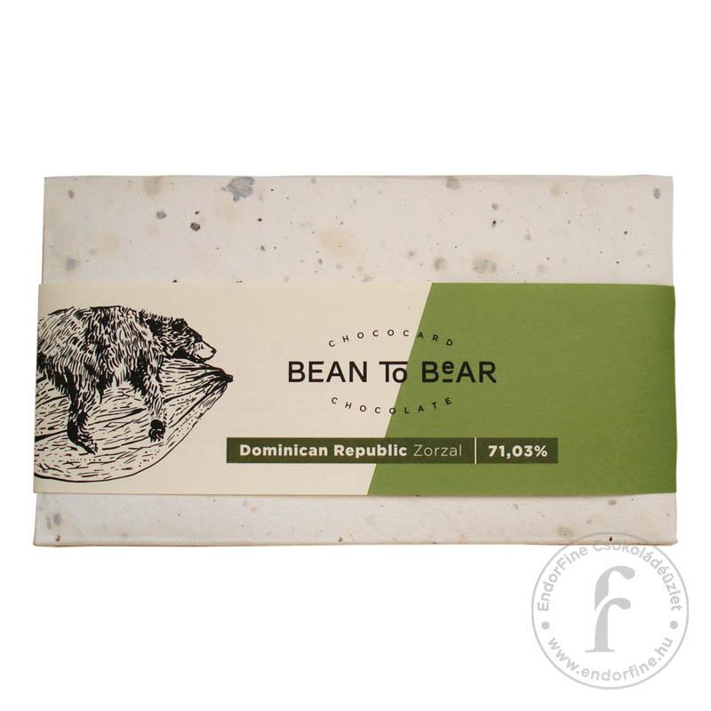 """ChocoCard """"Bean to Bear"""" 71%-os étcsokoládé (Dominica) 80g"""
