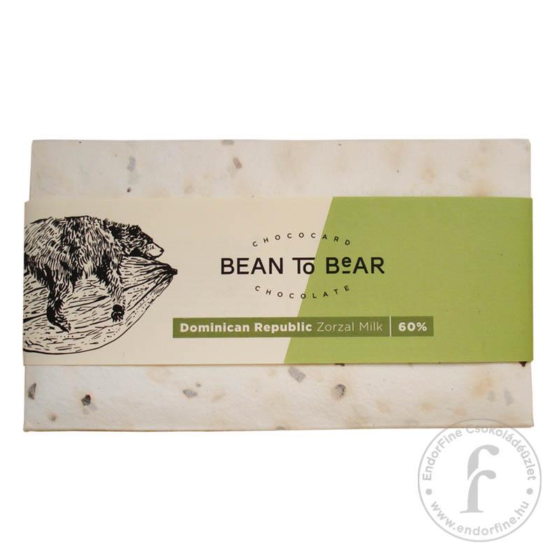 "ChocoCard ""Bean to Bear"" 60%-os tejcsokoládé (Dominica) 80g"