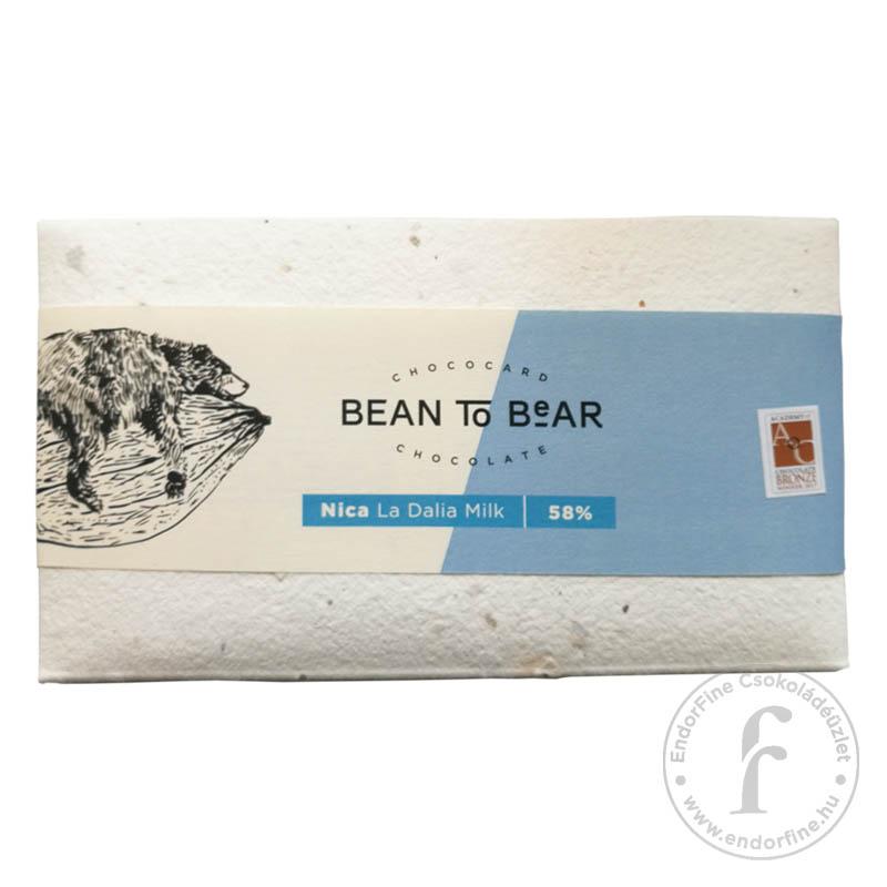 """ChocoCard """"Bean to Bear"""" 58%-os tejcsokoládé (Nicaragua) 80g"""