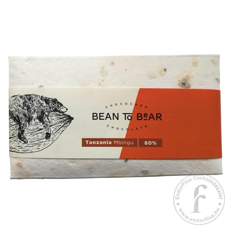 """ChocoCard """"Bean to Bear"""" 80%-os étcsokoládé (Tanzania) 80g"""