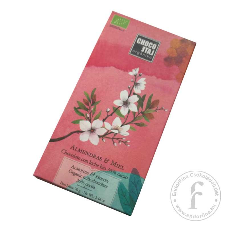 ChocoLate Orgániko 36%-os tejcsokoládé mandulával és mézzel 70g
