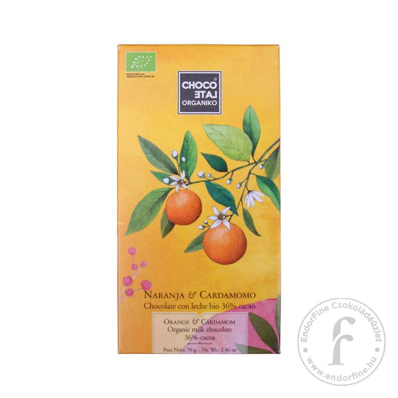 ChocoLate Orgániko 36%-os tejcsokoládé naranccsal és kardamommal 70g