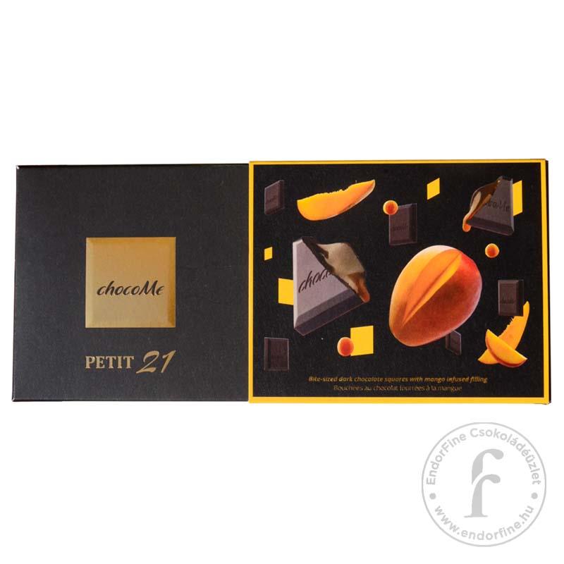 """ChocoMe """"Petit 21"""" Étcsokoládé falatkák karamell és mangó töltelékkel 110g"""