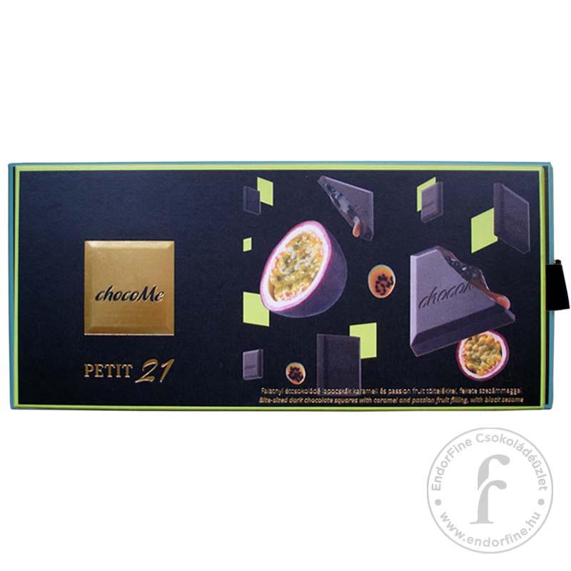 """ChocoMe """"Petit 21"""" Étcsokoládé falatkák karamell és passion fruit töltelékkel, fekete szezámmaggal 110g"""