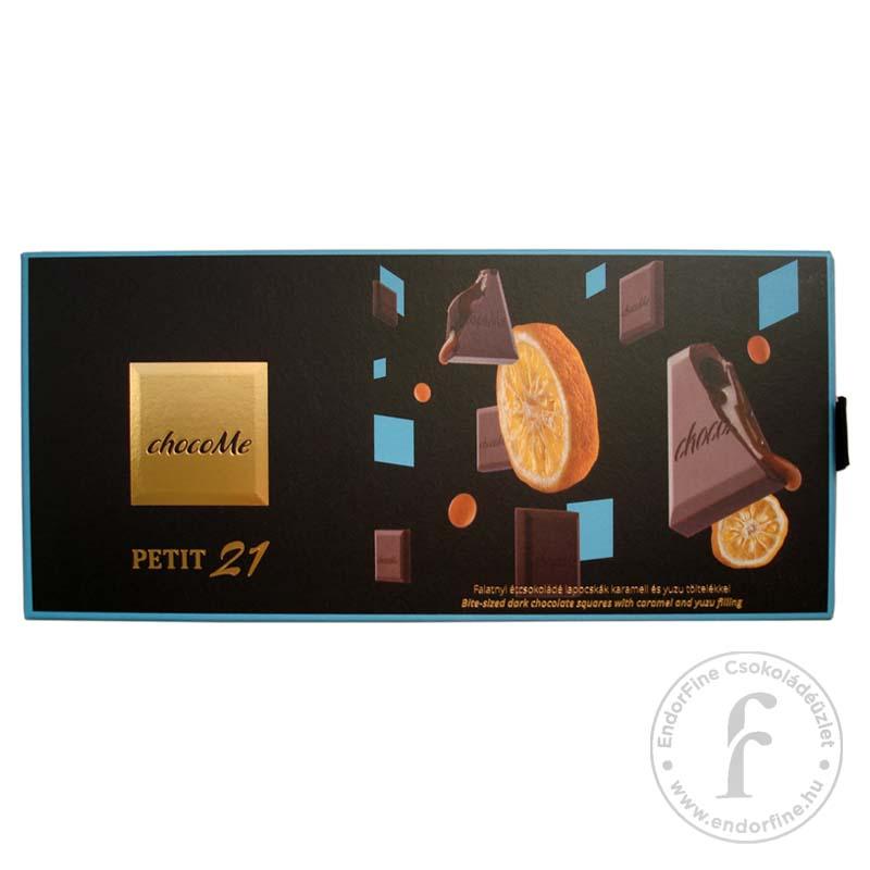 """ChocoMe """"Petit 21"""" Étcsokoládé falatkák karamell és yuzu töltelékkel 110g"""