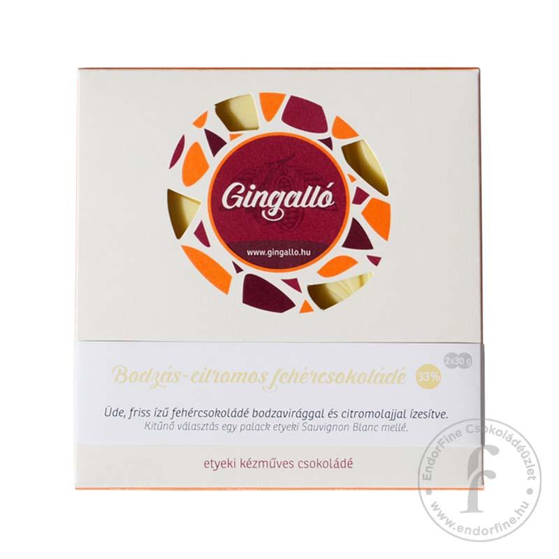 Gingalló Bodzás-citromos 33%-os fehércsokoládé 60g