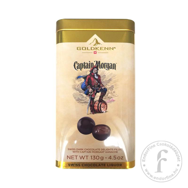 Goldkenn Captain Morgan rumos krémmel töltött étcsokoládé golyók fémdobozban 130g