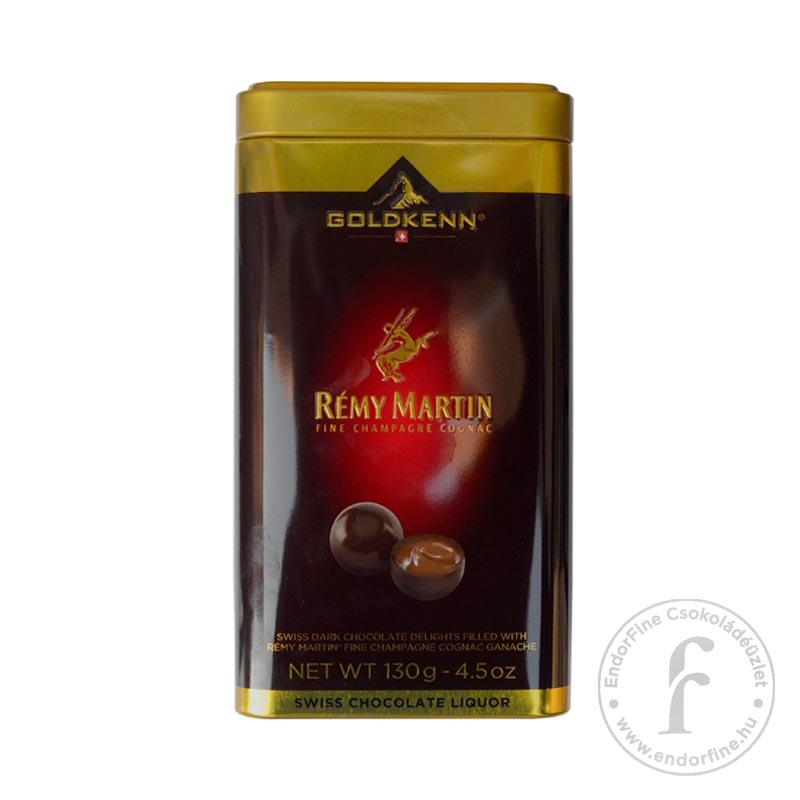 Goldkenn Rémy Martin konyakkal töltött étcsokoládé golyók fémdobozban 130g