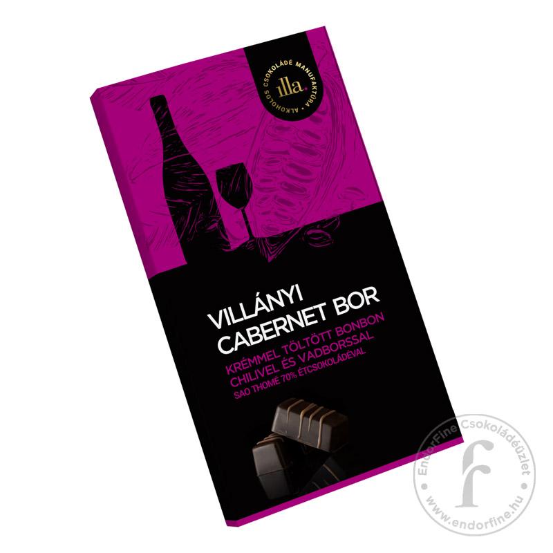 Illa Villányi Cabernet Sauvignon borkrémmel töltött 70%-os étcsokoládé bonbon chilivel és vadborssal 77g