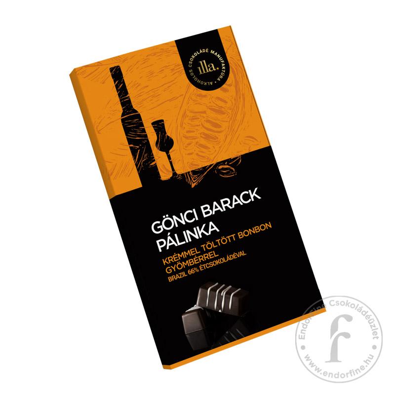 Illa Gönci barack pálinkakrémmel töltött 66%-os étcsokoládé bonbon gyömbérrel 77g