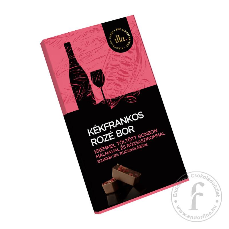 Illa Kékfrankos rozé borkrémmel töltött 39%-os tejcsokoládé bonbon málnával és rózsaszirommal 77g