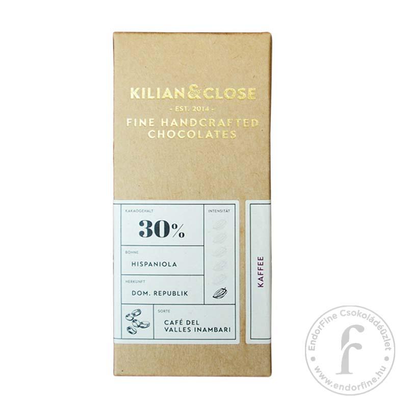 Kilian & Close 30%-os tejmentes fehércsokoládé őrölt kávéval 80g