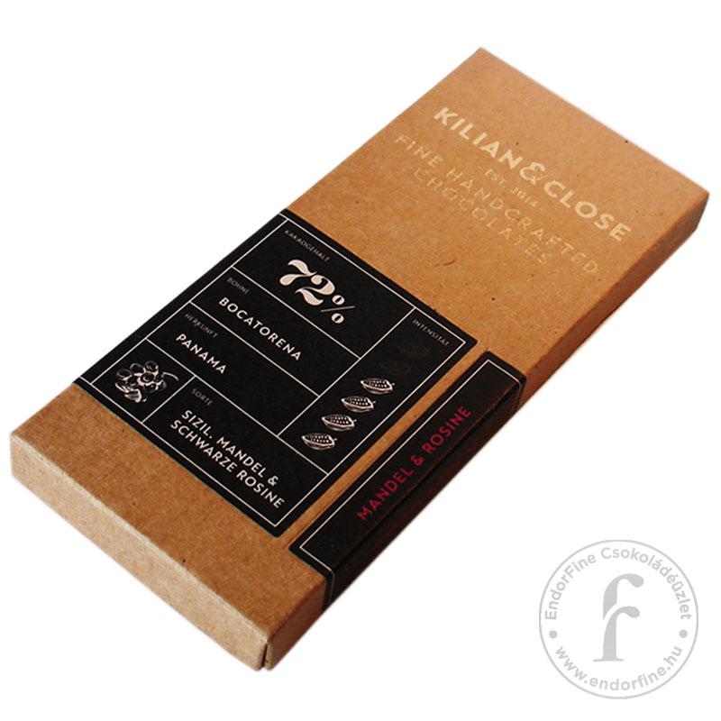 Kilian & Close 72%-os étcsokoládé mandulával és fekete mazsolával80g