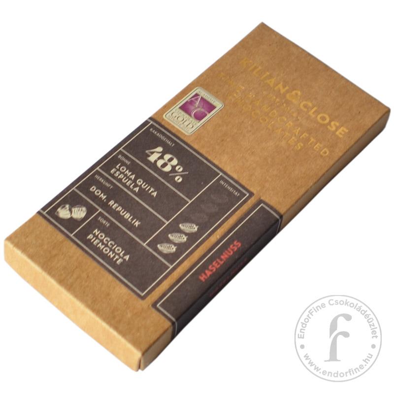 Kilian & Close 48%-os tejmentes tejcsokoládé Piemonte-i mogyoróval 80g