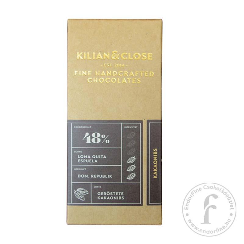 Kilian & Close 48%-os tejmentes tejcsokoládé kakaóbabtörettel 80g