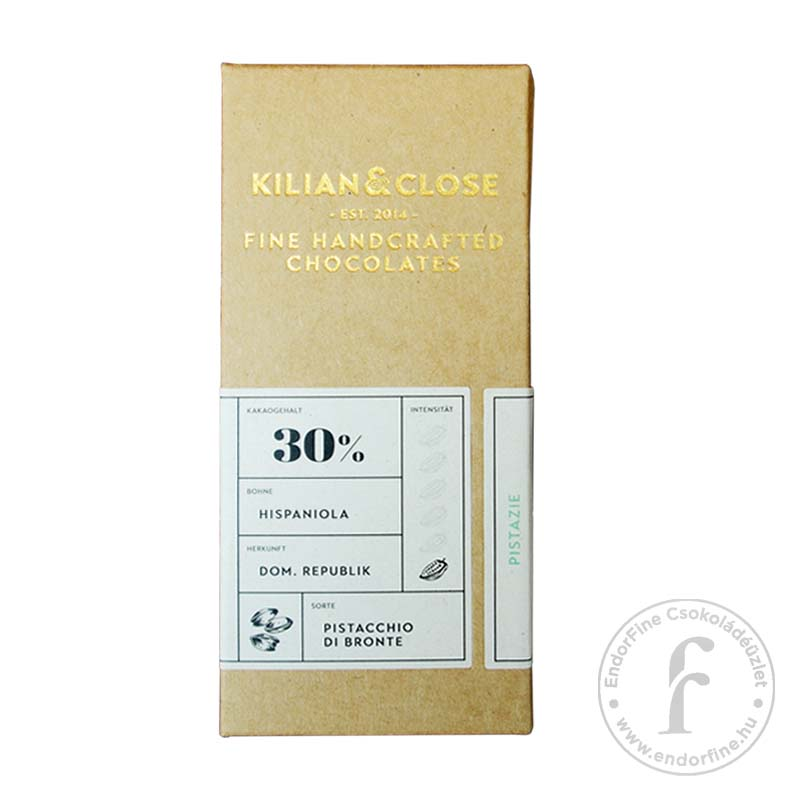 Kilian & Close 30%-os tejmentes fehércsokoládé pisztáciával 80g