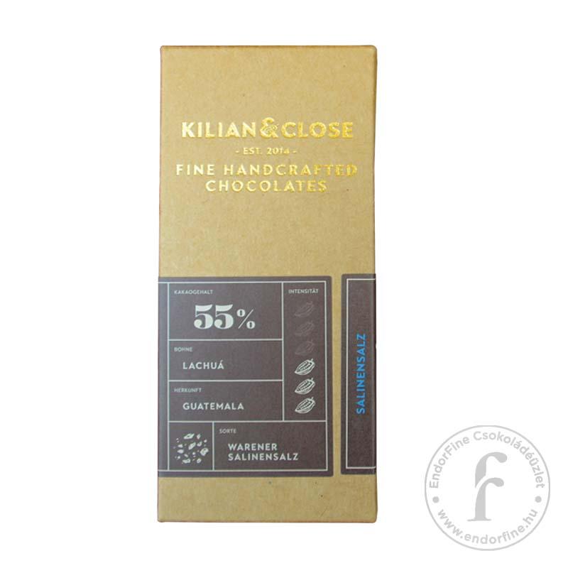 Kilian & Close 55%-os sós tejmentes tejcsokoládé 80g