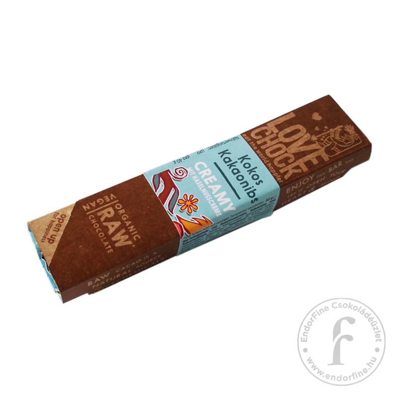 Lovechock kókuszos-kakaóbabtöretes 73%-os étcsokoládé szelet (RAW) 40g