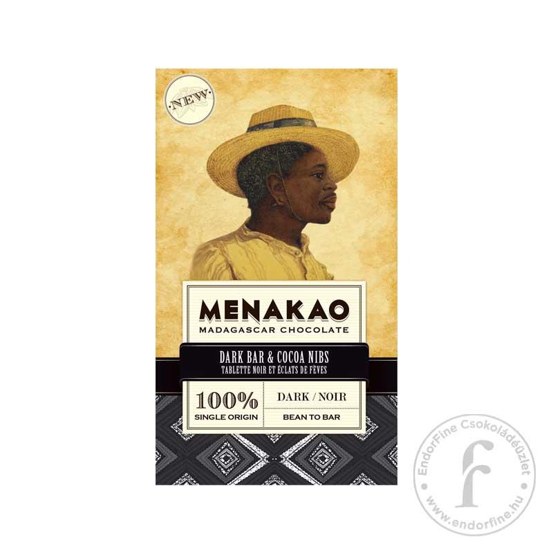 Menakao 100%-os étcsokoládé (Madagascar) kakaóbabtörettel 75g