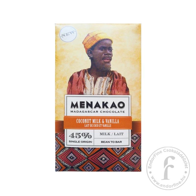 Menakao 45%-os tejcsokoládé kókusszal és madagaszkári vaníliával 75g