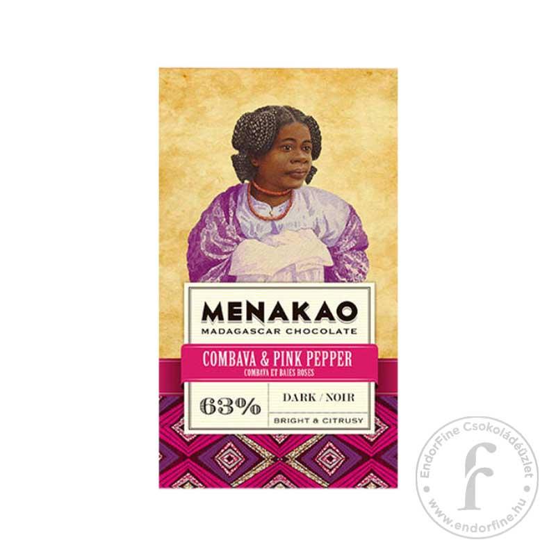 Menakao Combavás-rózsaborsos 63%-os étcsokoládé 75g