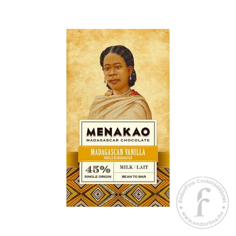Menakao 45%-os tejcsokoládé madagaszkári vaníliával 75g