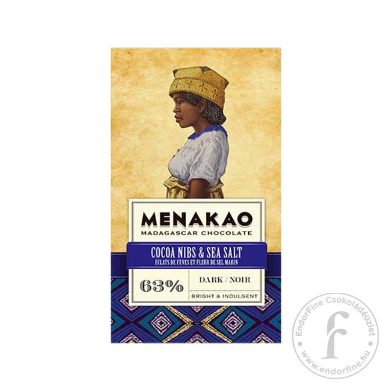 Menakao Kakaóbabtöretes-sós 63%-os étcsokoládé 75g