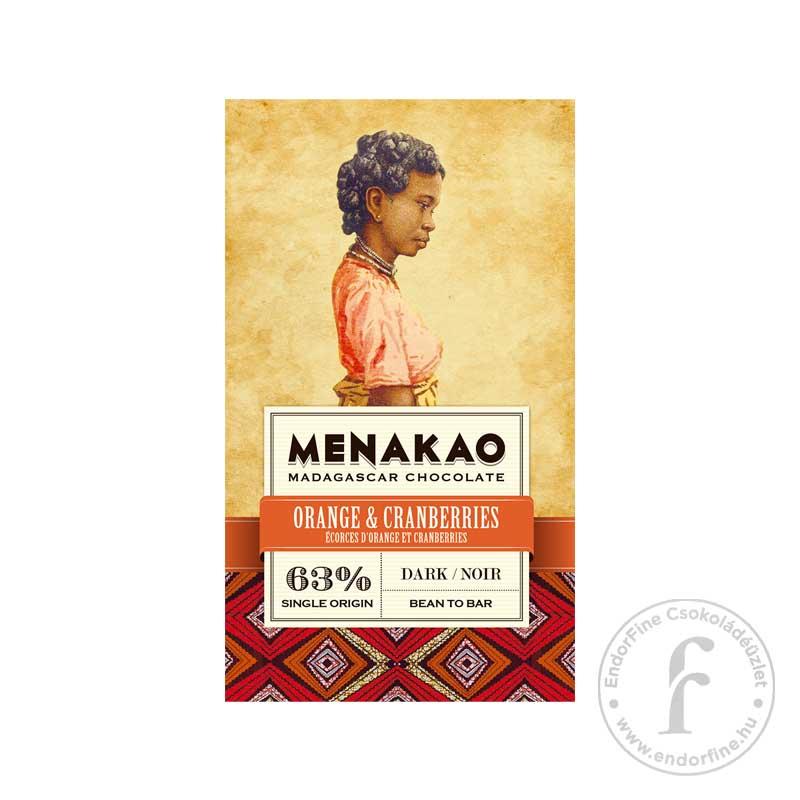 Menakao Narancsos-áfonyás 63%-os étjcsokoládé 75g