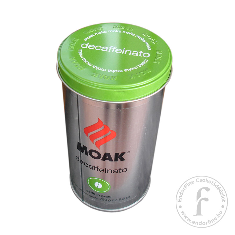 """Moak """"decaffeinato"""" koffeinmentes olasz szemes kávékeverék fémdobozban 250g"""