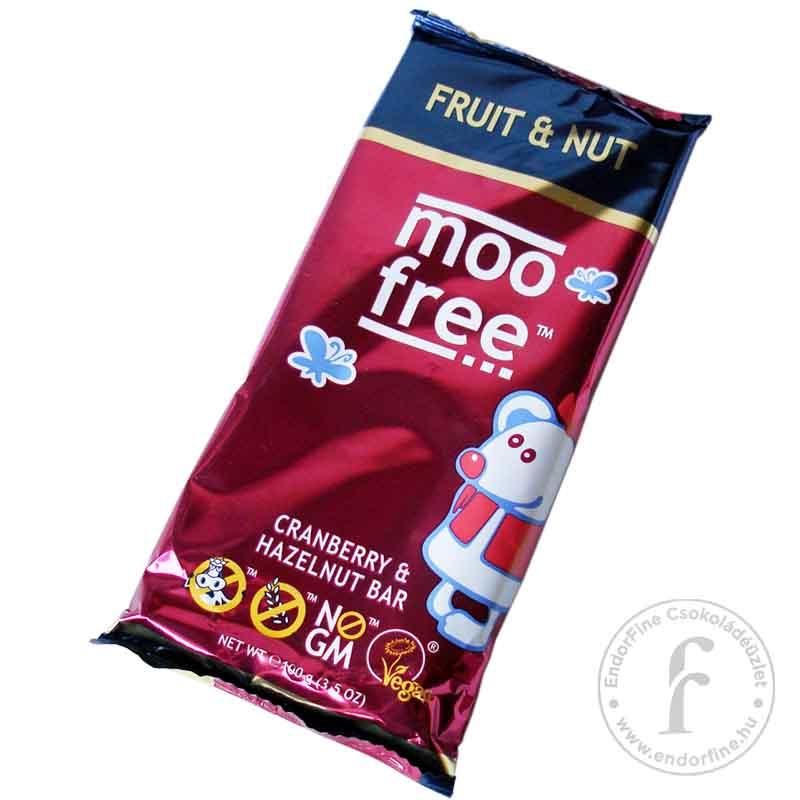 Moo Free Áfonyás-mogyorós 36%-os tejcsokoládé rizstejjel 100g