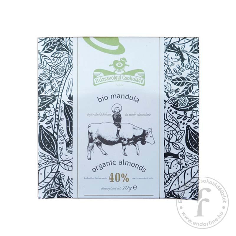 Rózsavölgyi 40%-os tejcsokoládé mandula darabkákkal 70g