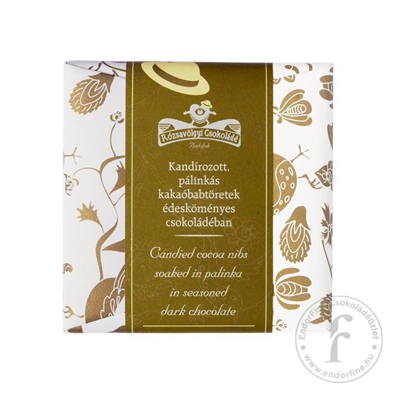 Rózsavölgyi Kandírozott, pálinkás kakaóbabtöret édesköményes 73%-os étcsokoládéban 70g