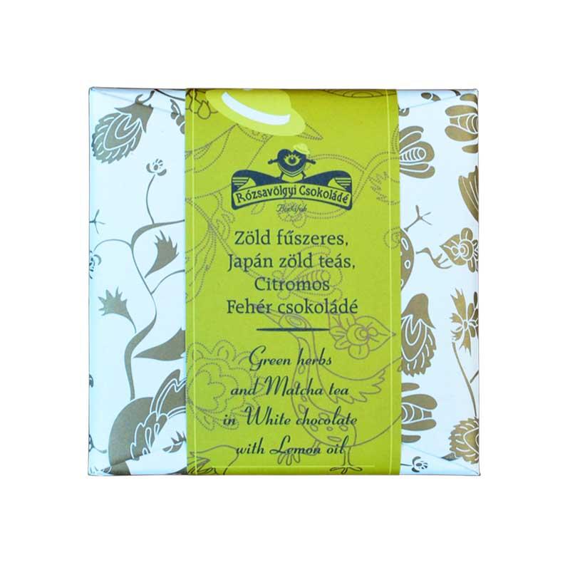 Rózsavölgyi Zöld fűszeres-japán zöld teás-citromos fehércsokoládé 70g